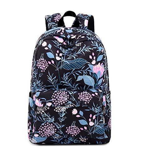 Joymoze Moderna Mochila de Ocio para Niñas Mochila Escolar para Adolescentes Mochila Bolso Estampado para Mujer (Flor Negra)