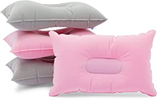 Inflatable Travel Pillows for Camping and Traveling (Pink, Grey, 4 Pack)