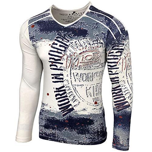 Chemise à manches longues Rusty Neal Imprimé Motif Hommes T-Shirt Longue Chemise A1-RN10109 - Beige - Large