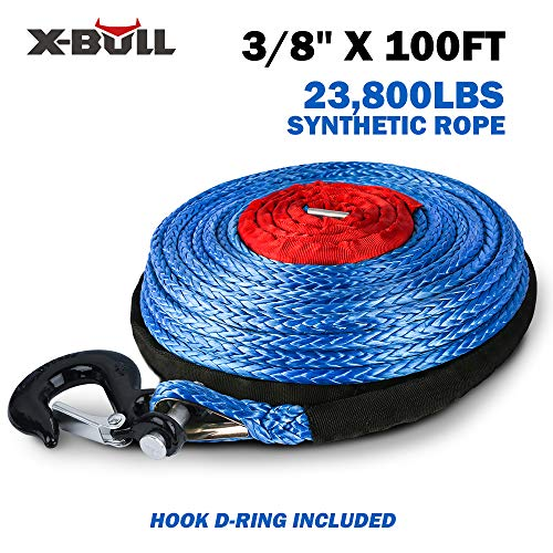 """ORCISH 3//8/"""" x 100ft Dyneema Synthetic Winch Rope with Hook Car Tow Recovery Cabl"""