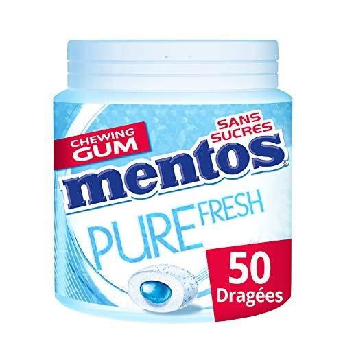 Mentos - Chewing-Gum Mentos Pure Fresh Menthe Douce - Chewing-Gum Sans Sucres - Au Thé Vert - Dure Longtemps - Haleine Fraîche - 1 Boîte de 50 Dragées