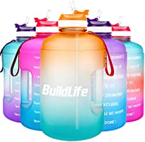 BuildLife Gallon Motivational Water Bottle Wide Mouth with Straw & Time Marked to Drink More Daily,BPA Free Reusable Gym...