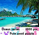 Large Hard Wooden Puzzles 1000 Pieces,Beautiful Hawaii Beach Landscape Jigsaw Puzzle,Art Puzzles for Adults Teens Kids