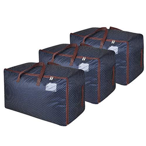 DOKEHOM 3 Pezzi 100L Grandi Vestiti Silos di immagazzinamento di Biancheria da Letto, Coperta Organizzatore contenitori di stoccaggio, traslochi Borsa (Blu)