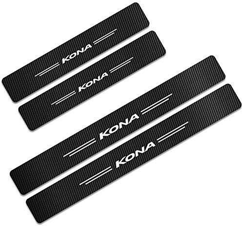 Para Hyundai Kona, Decoración Pegatina para Estribos, Protección de Pedal de umbral, Faldones Laterales Fibra de Carbono, Evitar el Desgaste
