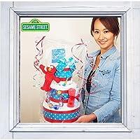 3段おむつケーキ「セサミストリート・エルモ」【出産祝い】【パンパース使用】-M