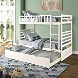 Twin Bunk Bed with Trundle, Rockjame Space Saving Design Sleeping Bedroom Furniture Wood Twin Over Twin Bunk Bed Frame with Ladder and Safety Rail (White)