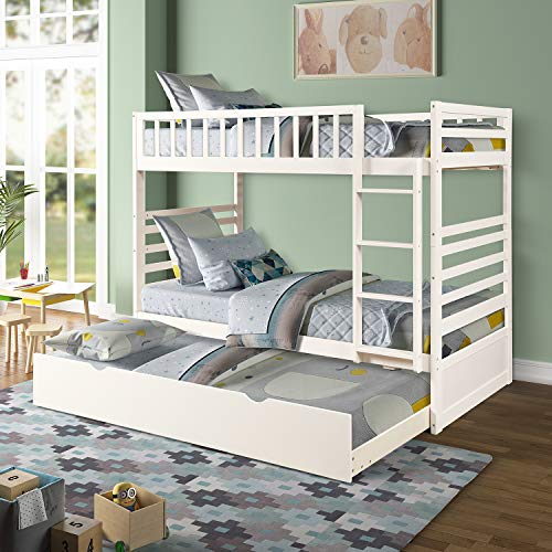 Twin Over Twin Bunk Bed, Rockjame Space Saving Design Sleeping Bedroom Furniture with Trundle Solid...