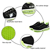 frysen Herren Damen Sportschuhe Laufschuhe mit Luftpolster Turnschuhe Profilsohle Sneakers Leichte Schuhe Black Green 41