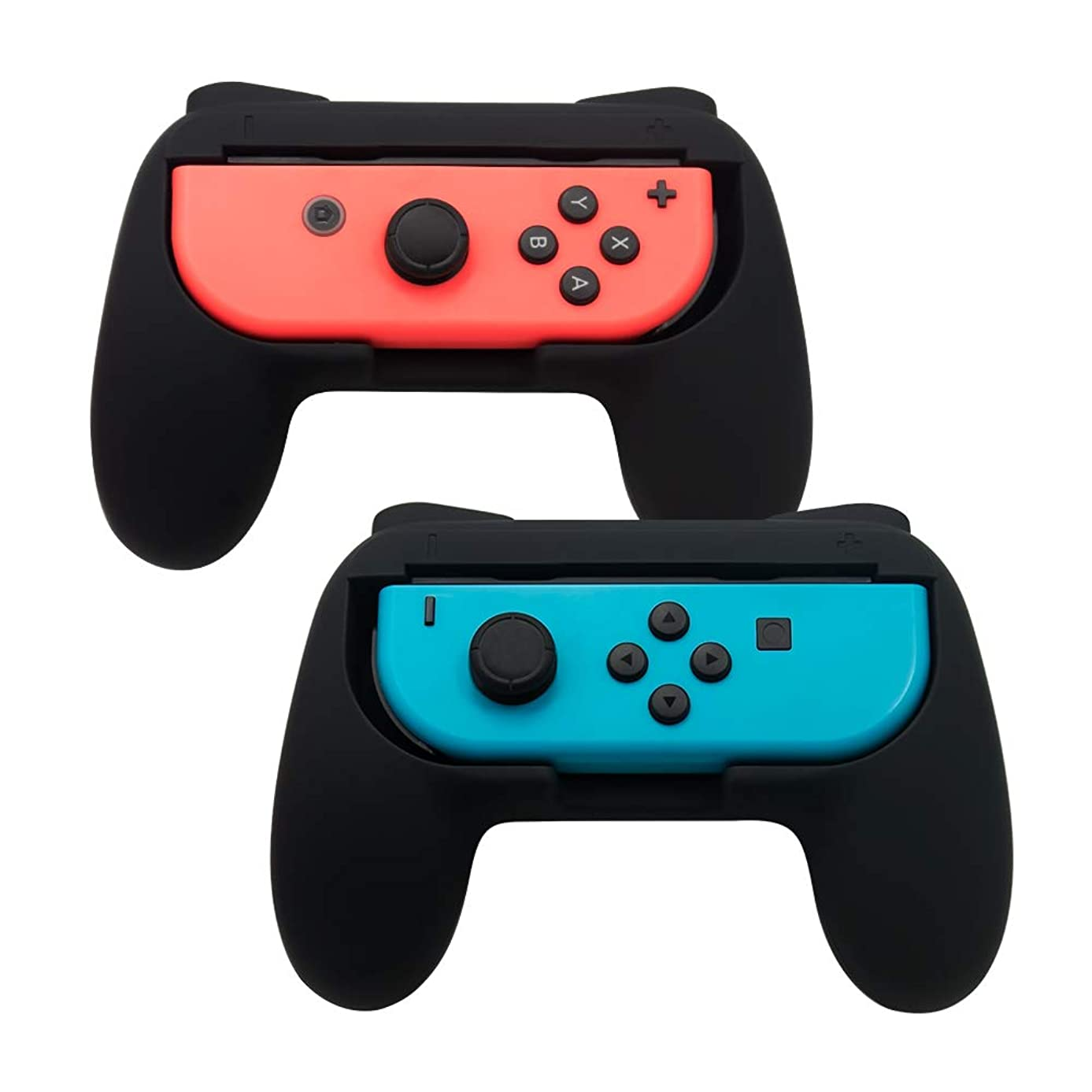 TOMSIN Grips for Nintendo Switch Joy-Con [Upgrade Version], Wear-Resistant and Non-Slip Matte Surface Handle Kit for Switch Joy Con Controllers 2-Pack (Black)