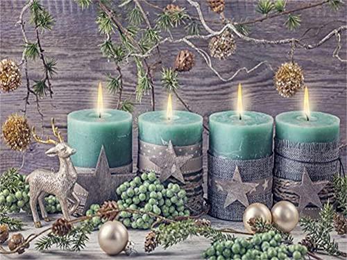 DIY 5D Diamond Pintura Kit Holiday Candles Redondo Diamond Painting Full Drill Crystal Rhinestone Adultos Child Lienzo De Punto De Cruz Bordado Arte Manualidades Decoración Hogar Regalo 40x50cm