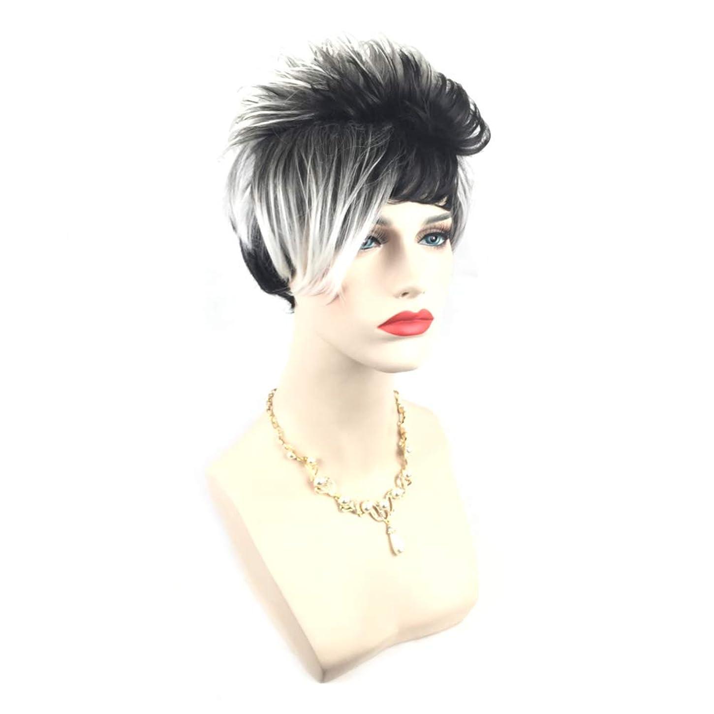 どうやら凝縮するヘア女性ファッションショートヘアウィッググラデーションカラーヘアウィッグ自然に見える絶妙なローズネットウィッグカバー(画像の色)