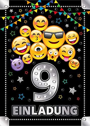 Junaversum 12 Einladungskarten zum 9. Geburtstag Kinder neunte Kindergeburtstag