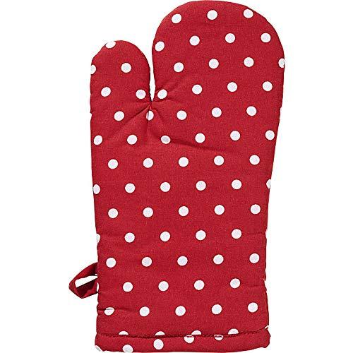 REDBEST Ofenhandschuh, Backofenhandschuh Punkte, 100% Baumwolle rot Größe 15x30 cm - hitzebeständige Wattierung, außen Robustes, glattes Gewebe (weitere Farben)