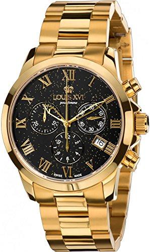 LOUIS XVI Damen-Armbanduhr Athos Pour Femme Stahlband Gold Schwarz Stars Edition Gold Chronograph Analog Quarz Edelstahl 545