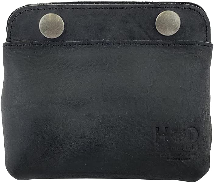 Hide & Drink, Leather Double Snap Pouch, Coin Purse, Cash & Card Holder, Cable Organizer, Makeup, Handmade Includes 101 Year Warranty (Charcoal Black)
