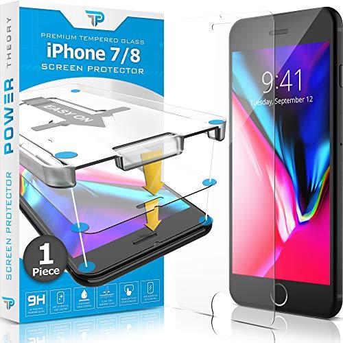Power Theory Protector Pantalla Cristal Templado iPhone 7/8 - Vidrio Ultrafino (0.33mm), Ultraresistente (9H Dureza) con Kit de Instalación sin Burbujas