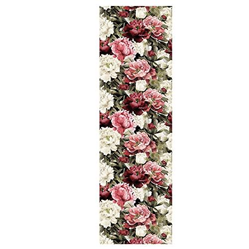 Papel pintado autoadhesivo rosa blanco flor de contacto papel DIY impermeable autoadhesivo decorativo papel pintado cocina encimera gabinetes cajón muebles pared 45x300cm