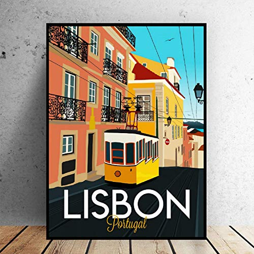 Lisbonne Voyage Impression sur Toile Mur Art Affiche Image Moderne Minimaliste Chambre Salon Décoration No Frameless Peinture A547 40X50 Cm sans Cadre