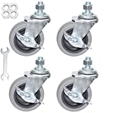 Caster Wheels, 3 Inch Heavy Duty Casters Threaded Stem Casters No Noise Swivel Casters Set of 4 Locking Castor Wheels for Funiture, Workbench, Carts (American Size 1/2''-13×25mm)