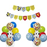 Toy Story Happy Birthday Banner Decorations Kit, Kids Birthday Party Garland Banner Toy Inspired Story Theme Balloons for Birthday 1st 2nd 3rd 4th 6th 10th Party Supplies