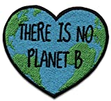 Parche bordado de alta calidad con diseño de corazón y texto en inglés «There is No Planet B»