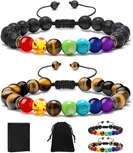 MONOZO Bead Chakra Bracelet 7 Chakras 8mm Lava Rock Stone Anxiety Bracelet Essential Oil Diffuser product image