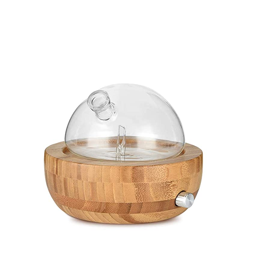 Waterless Essential Oil Aroma Diffuser, Natural Glass Oil Nebulizer for Home, Office, Spa Bamboo Base