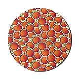 Gartenmaus-Pad für Computer, Bio-Pfirsiche Harvest Farming Vitamin Fruits Köstliche Grafik, rundes, rutschfestes, dickes Gummi Modern Gaming Mousepad, 8 'rund, zinnoberrot, grün und weiß