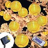 Solar Lichterkette Außen Lampions infinitoo 6M 30er Wasserdicht Warmweiß LED Lampions Laterne Lichterkette mit Fernbedienung Garten Innen und Außenbereich für