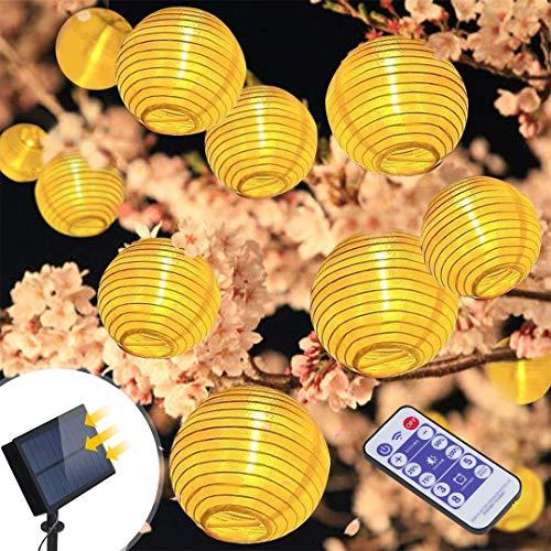 Solar Lichterkette Außen Lampions infinitoo 6M 30er Wasserdicht Warmweiß LED Lampions Laterne Lichterkette mit Fernbedienung Garten Innen und Außenbereich für Party