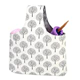 Teamoy Knitting Tote Bag(L12.2' x W7.5'), Travel Canvas Project Wrist Bag for Knitting Needles(up to 11 Inches), Yarn and Crochet Supplies,Perfect Size for Knitting on The Go (Small, Tree)