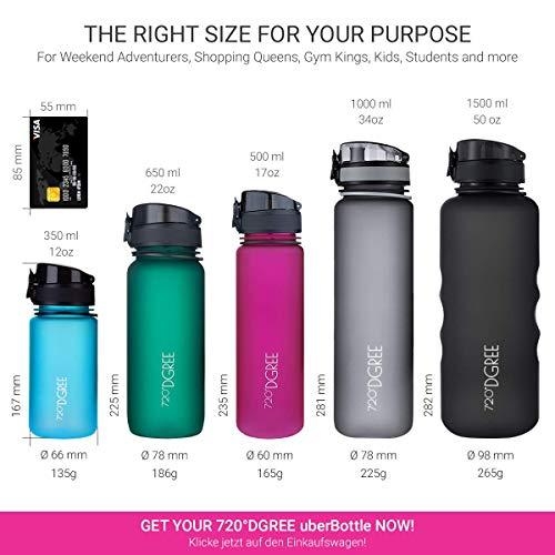 "720°DGREE Water Bottle ""uberBottle"" - 1.5 L softTouch +Fruit-Infuser - BPA-Free Tritan, Leakproof, Reusable Drinking Bottle - Sports Bottle for Gym, Running, Fitness, Hiking, Travel, School, Office"