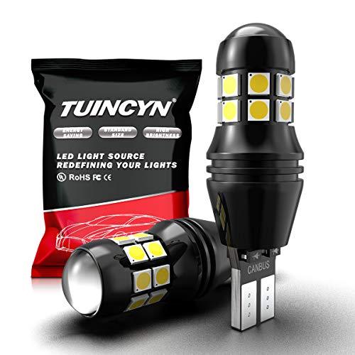 TUINCYN T15 W16W Ampoule LED CANBUS 3030 20 SMD LED de recul 2000 LM extrêmement Lumineuse 912 921 LED Cale de stationnement Blanc 6500K (Lot de 2)