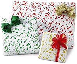 Flat Holiday Music Gift Wrap Sheets- 6 flolded Sheets of Thick, Peek Proof, Wrapping Paper