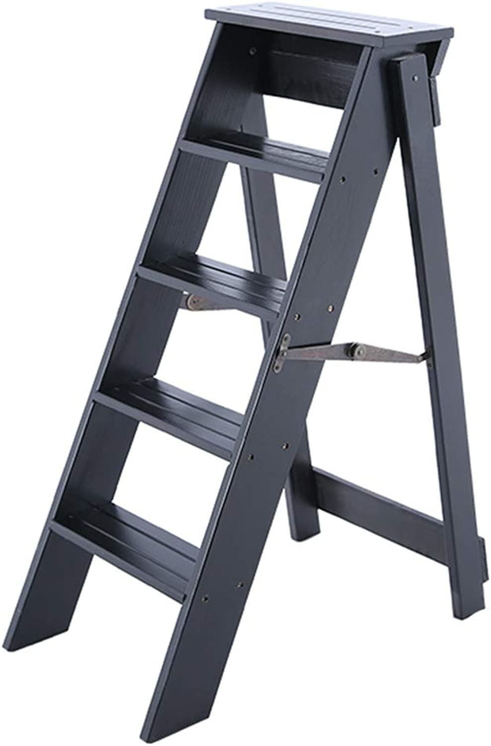 Multipurpose Ladders Foldable Step Stool Five Step Ladder Solid Wood Ladder Flower Stand Shelf Household Ladder Ladders (color   Black, Size   34  60  88cm)