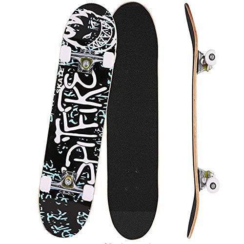 IDE Play Skateboard 31' x 8' Complete PRO Pattino a Sdraio, Doppiocalcio 9 Strato Trucchi d'Acero Canadese di Legno Adulti Skate Bordo per Principianti,Nero