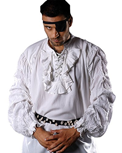 Medieval Poet's Pirate Shirt Costume [White] (Large)