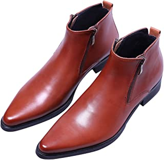 c8d190aa42eeac Men's Ankle Genuine Leather Dress Fashion Zipper Pointed Toe Casual Boots