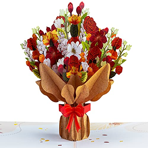 Paper Love Pop Up Card, Fall Flower Bouquet, Handmade 3D Popup Greeting Cards, for Thanksgiving,...