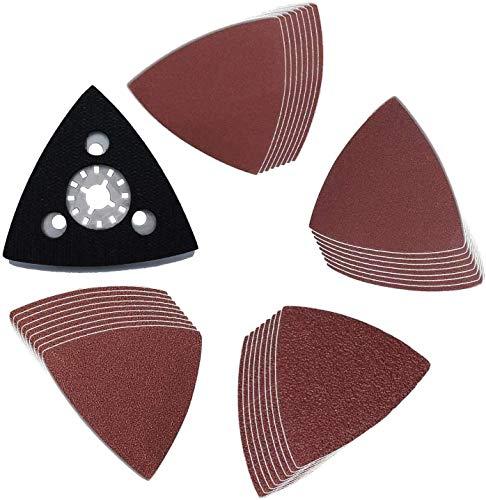 Placa de Lijado Triángular Compatible con Bosch, Dre-mel, Chicago, Ma-kita Lijadora Excéntrica Herramienta Multifunción (grano 40 80 180 240) 33 piezas Poweka