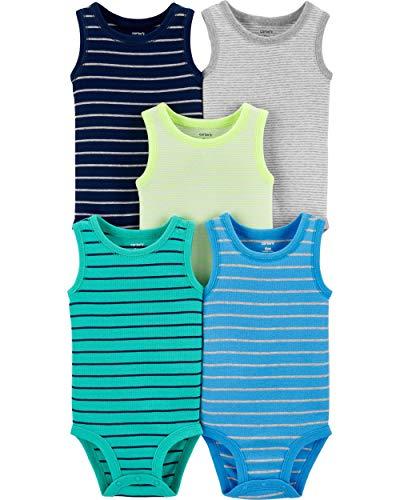 Carter's Baby Boys' 5-Pack Original Bodysuits, Sleeveless (24 Months, Navy/Turquoise/Heather/Neon Yellow)