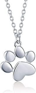 Sterling Silver Paw Print Pendant Necklace for Women Girls Kids 18K White Gold Plated Polished Cute Puppy Dog Cat Pet Necklace Chain 18