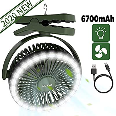 OUTXE Camping Fan with 28 LED Camping Lantern 6700mAh USB Rechargeable Tent Fan USB Clip On Fan Persona Fan