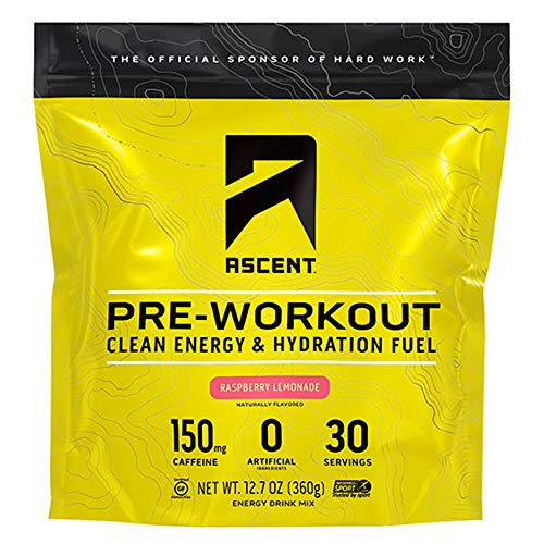 Ascent Pre Workout - Raspberry Lemonade (Tart) - New and Improved Taste - 30 Servings