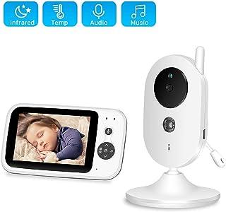 MRWJ Monitor de bebé con la cámara vídeo Babyphone con 32 Pantalla de visión Nocturna 2 Charla de la Manera Canciones de Cuna VOX Monitorización de la Temperatura etc Función