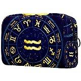 Neceser Maquillaje Portátil Signo de Oro del zodíaco Acuario Bolsa de Maquillaje Organizador de Maquillaje Bolso de Cosméticos de Viaje para niñas y Mujeres 18.5x7.5x13cm