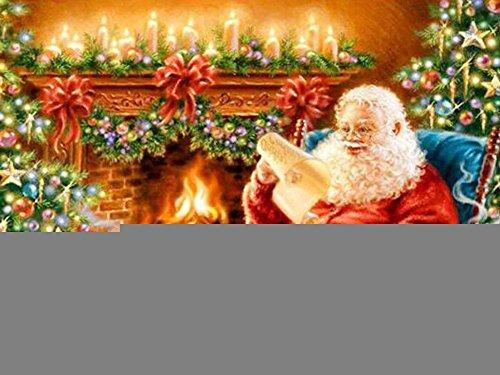 Navidad Diamante Pintura 5D Papá Noel DIY Completo Perforar Gatito Resina Bordado Arte Pegar Punto de cruz Herramienta Kits Asado Diamante Mosaico Pegatina Lona Para Casa Decoración , square diamond , 80*107 cm
