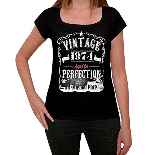 One in the City 1974 Cumpleaños de 47 años Vintage Aged to Perfection Mujer Camiseta Negro Regalo De Cumpleaños