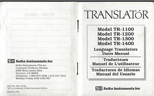 User Manual for the Translator, Model Tr 1100, 1200, 1300, 1400, Language Translators English, French, Spanish